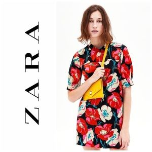 Zara Trafaluc Floral Poppy Print Mini Dress